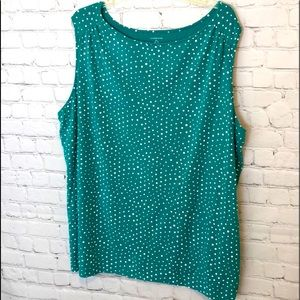 LANDS END PULLOVER TOP GREEN WHIT SLEEVELESS SZ 2X